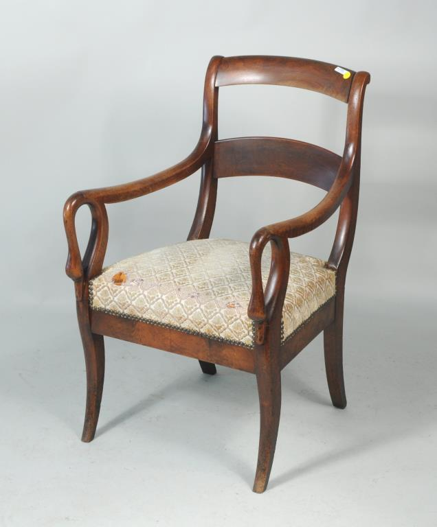 Empire Swan Carved Mahogany Open Armchair