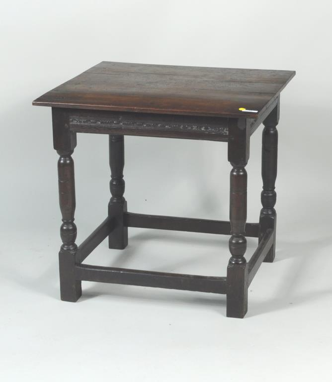 English Country Carved Oak Tap Table