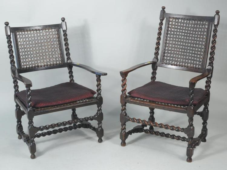 Matched Pair English Charles II Oak Open Armchairs
