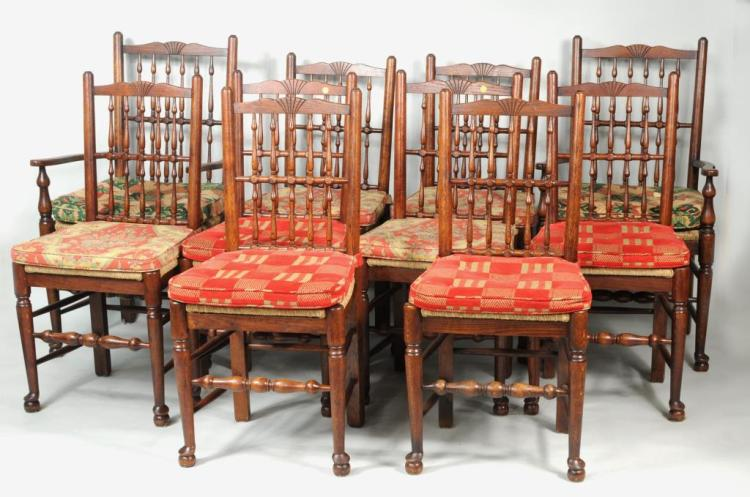 Set ten oak yorkshire dining chairs