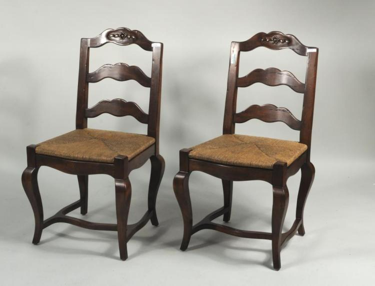 Pair Country French Style Side Chairs W/Rush Seats