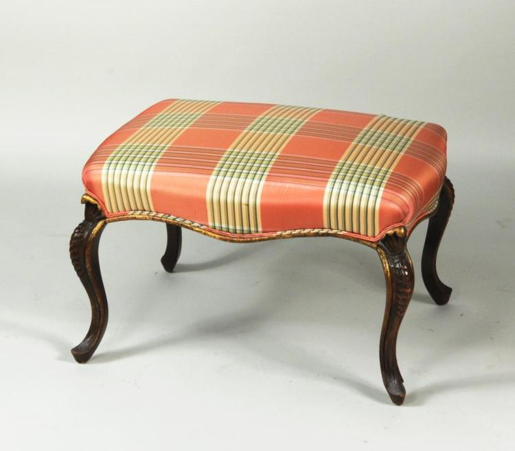 Continental Carved & Parcel Gilt Upholstered Stool