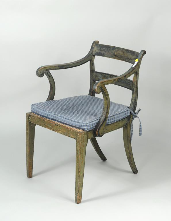 Regency Paint Decorated Open Arm Chair