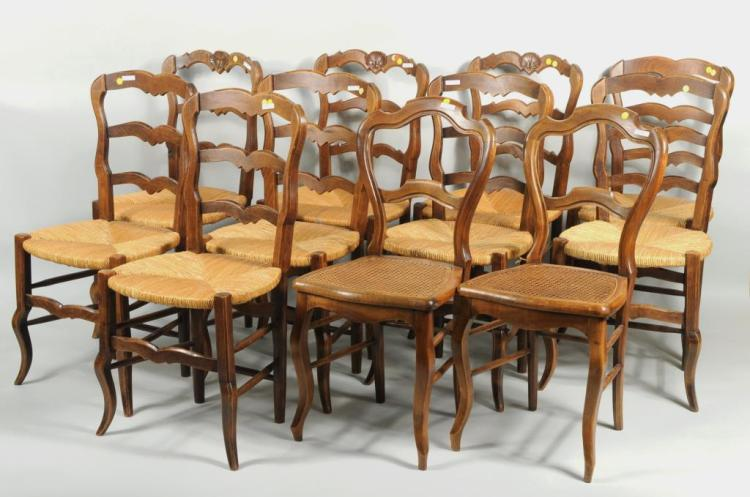 Group Eleven French Provincial Style Side Chairs