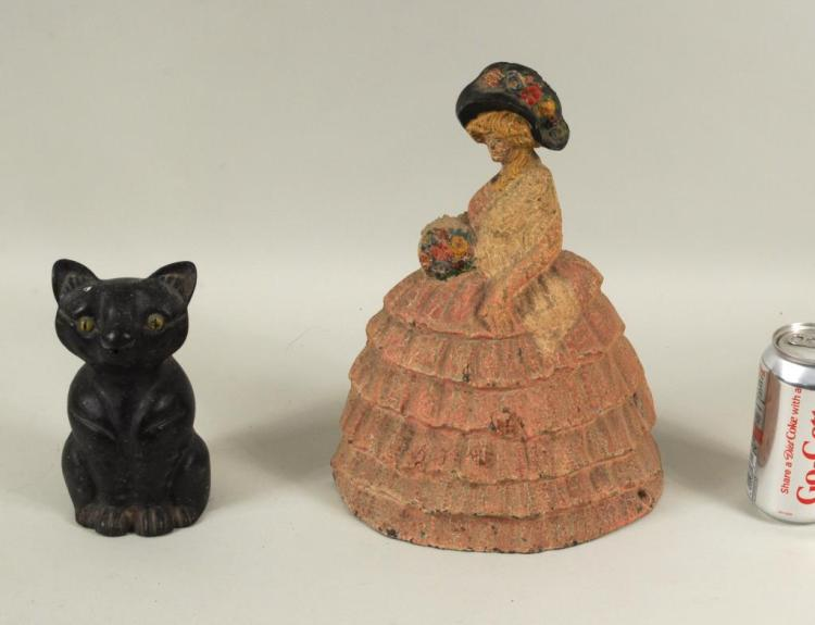 2 Cast Iron Painted Figural Items