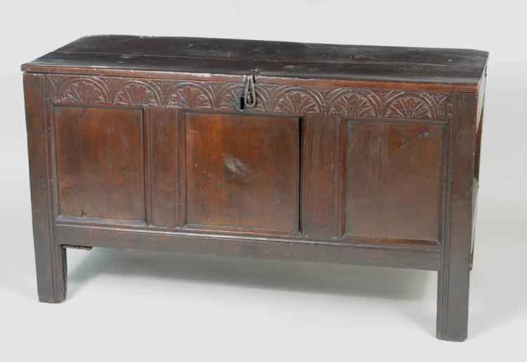 English Carved Oak Joined Coffer
