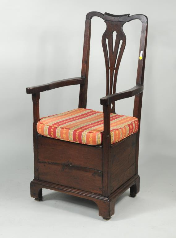 Georgian Carved Oak Box Seated Armchair
