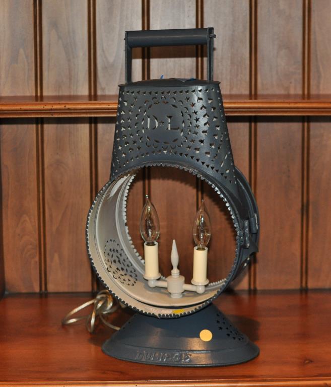 Pierced Tole Two Light Lamp