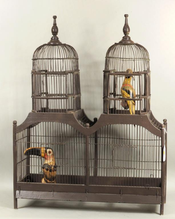 Folk Art Painted Wood & Wire Bird Cage