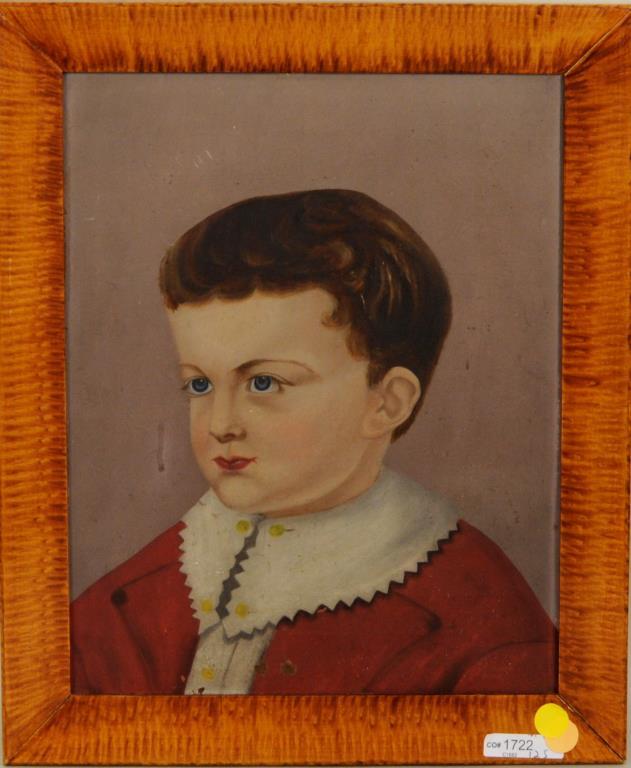 American Folk Art Portrait Of Young Boy O/T