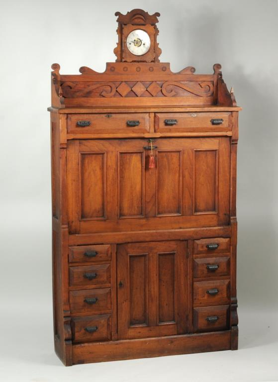 Folk Art Masonic Carved Maple Secretaire/Clock