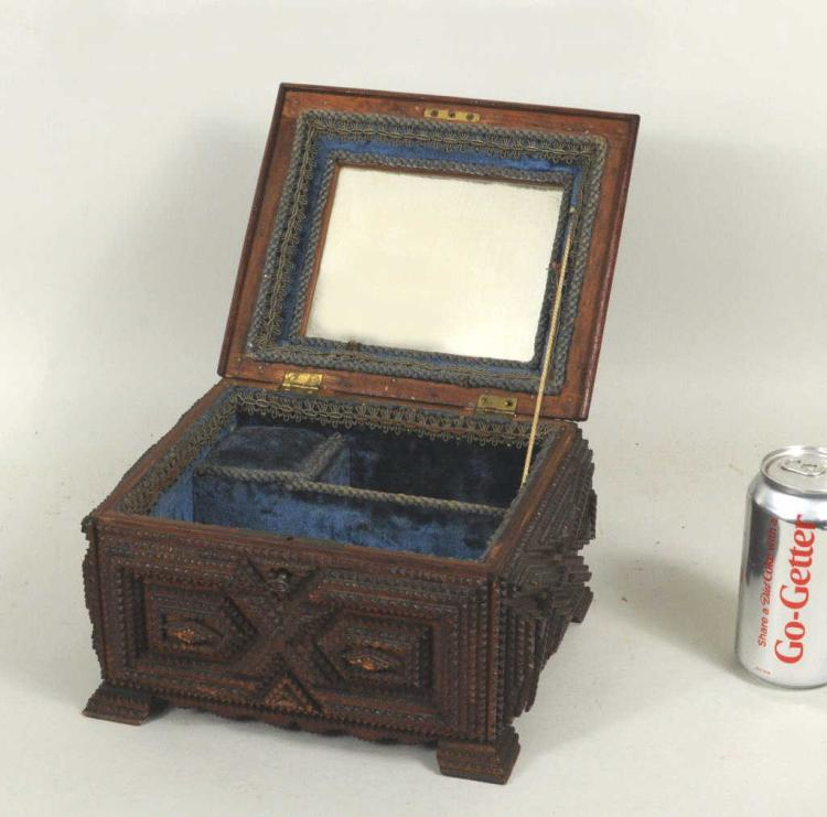 Elaborate Carved Tramp Art Jewelry Box