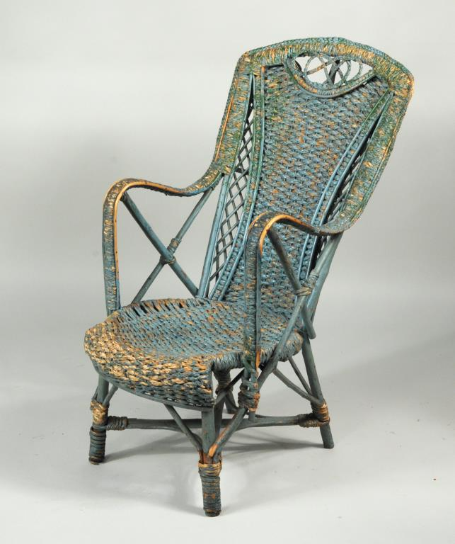 Antique Painted Woven Raffia Armchair