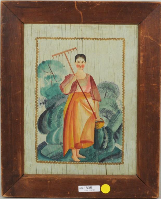 Folk Art Painting Of A Lady Gardener O/P