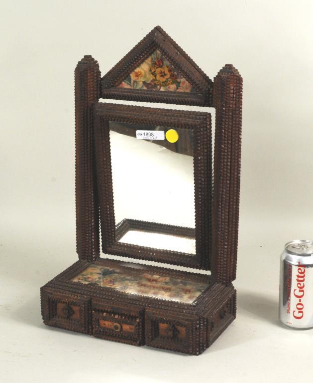 Unusual Tramp Art Dressing Mirror