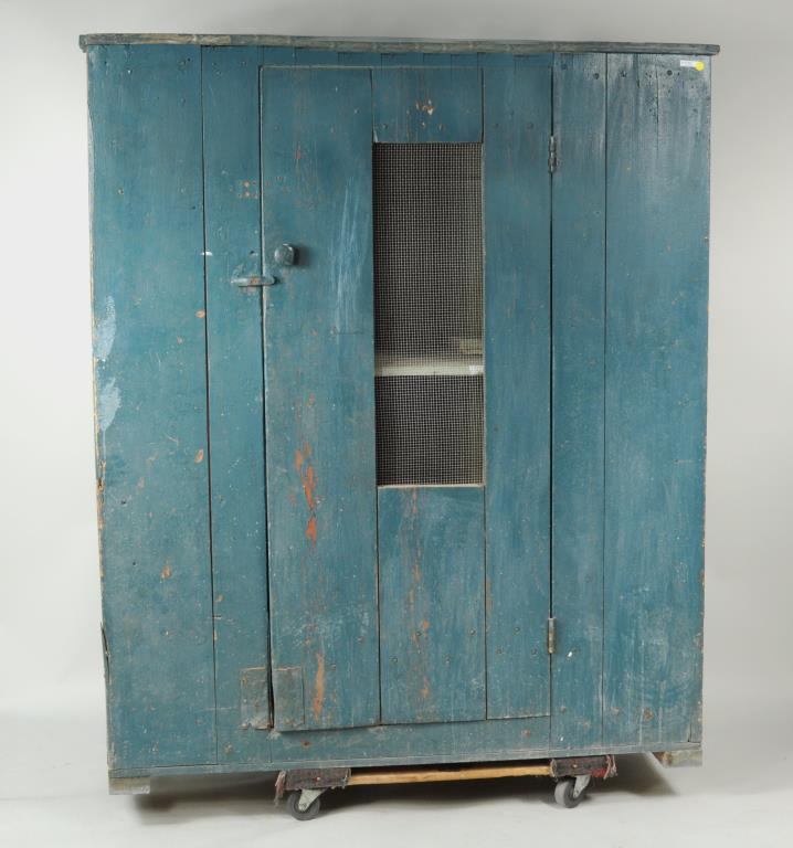 Primitive Blue Painted Pie Cupboard