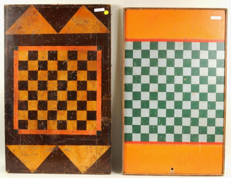 Two Carved & Painted Game Boards