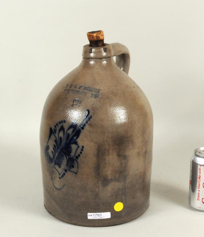 E & LP Norton Cobalt Decorated Stoneware Jug