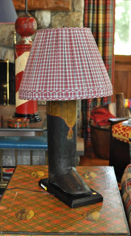 Folk Art Tole Painted Boot Form Lamp