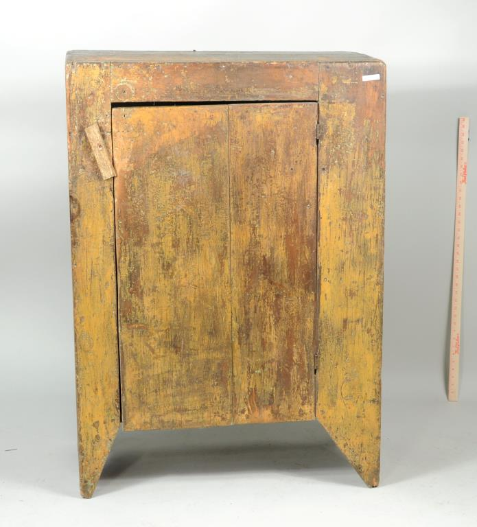 Primitive One Door Cupboard In Mustard Paint