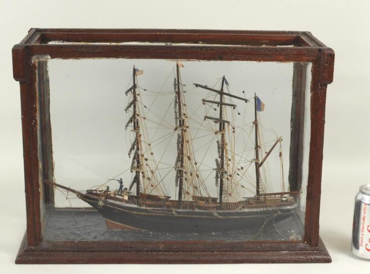 Folk Art Carved & Painted 4-Masted Schooner/Case