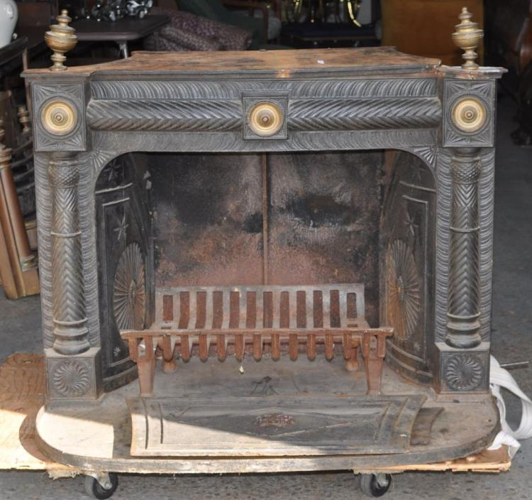 Neoclassical Cast Iron/Brass Fireplace Stove