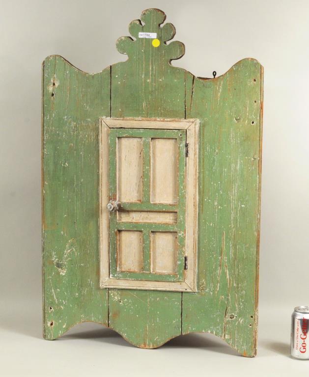 Folk Art Carved & Painted Hanging Corner Cupboard