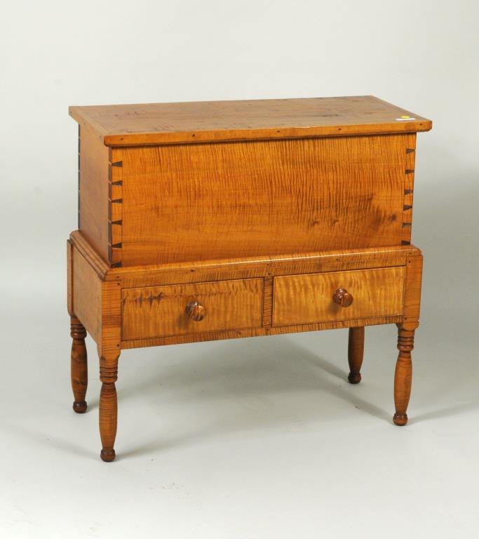 Federal Style Tiger Maple Sugar Chest, Lift Top