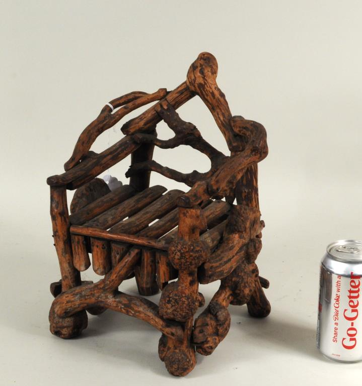 Folk Art American Mini Rhododendron Root Chair