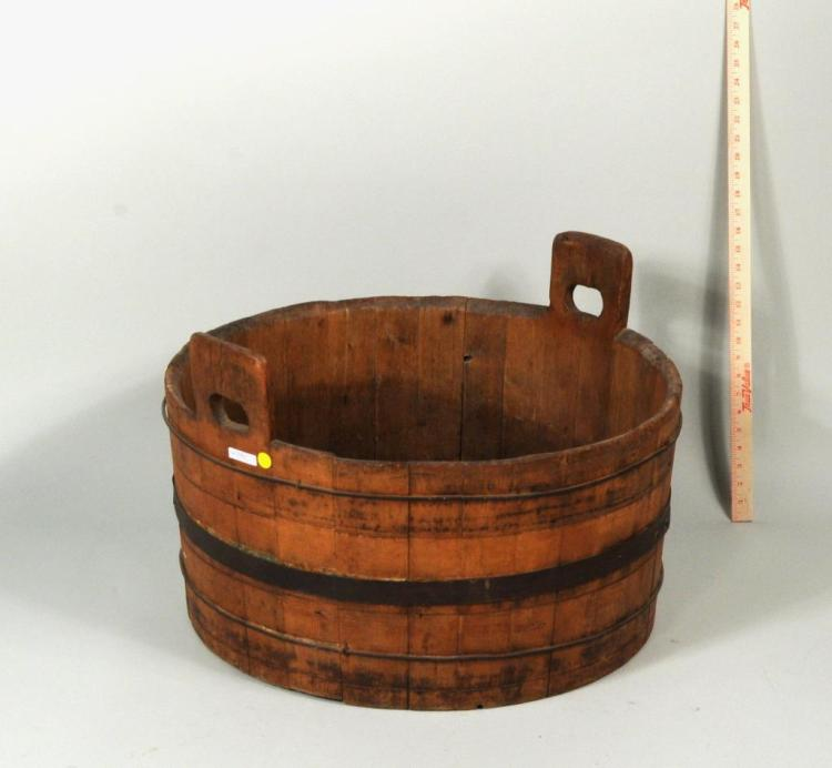 Primitive Wood Bucket W/Iron Staves