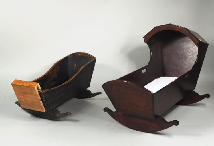 Two Antique Wooden Cradles