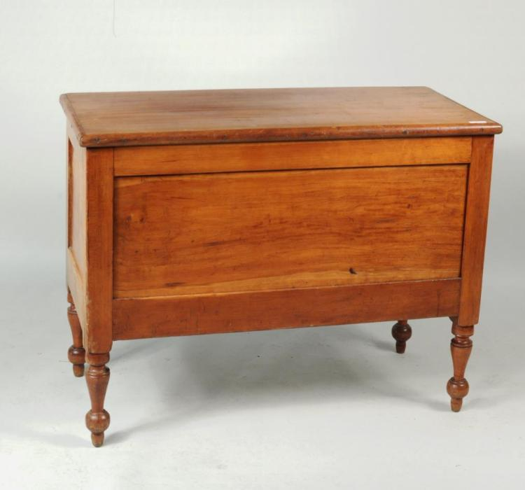 Maple Blanket Chest, Paneled Sides On Turned Legs