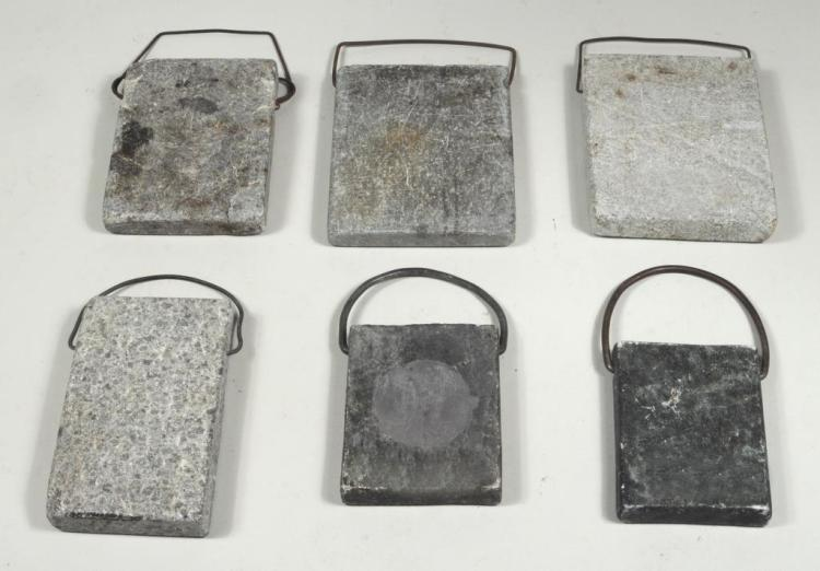 Group Six Stone Warmers W/Wrought Iron Handles