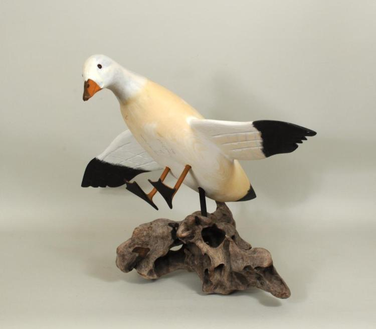 Folk Art Carved & Painted Snow Goose On Stand