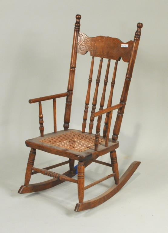 Oak Child's Cane Seat Rocking Chair