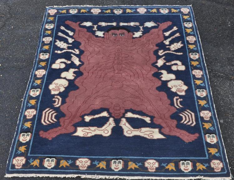 Tibetan Tantric Demon/Skeleton Rug