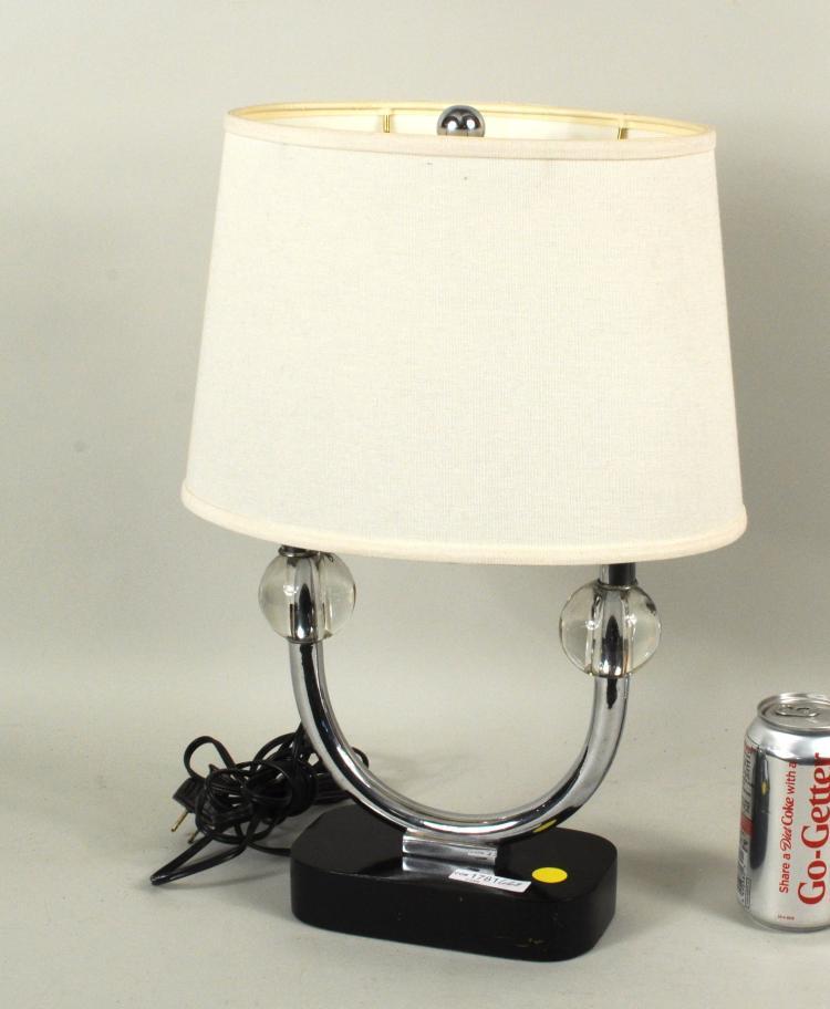 Mid Century Chrome & Glass Lamp