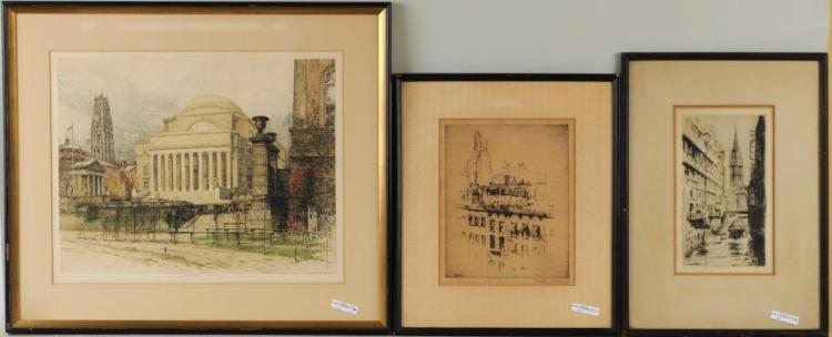 Three Framed Etchings