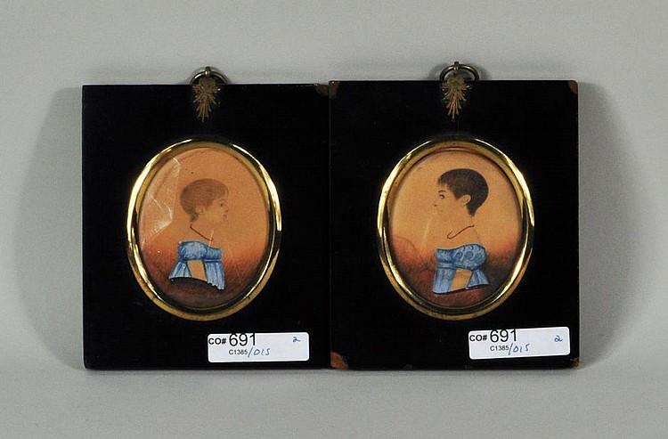 Pair Framed Watercolor Portrait Miniatures