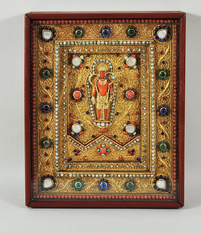 Nepalese Gilt Metal Mother of Pearl Inlaid Plaque