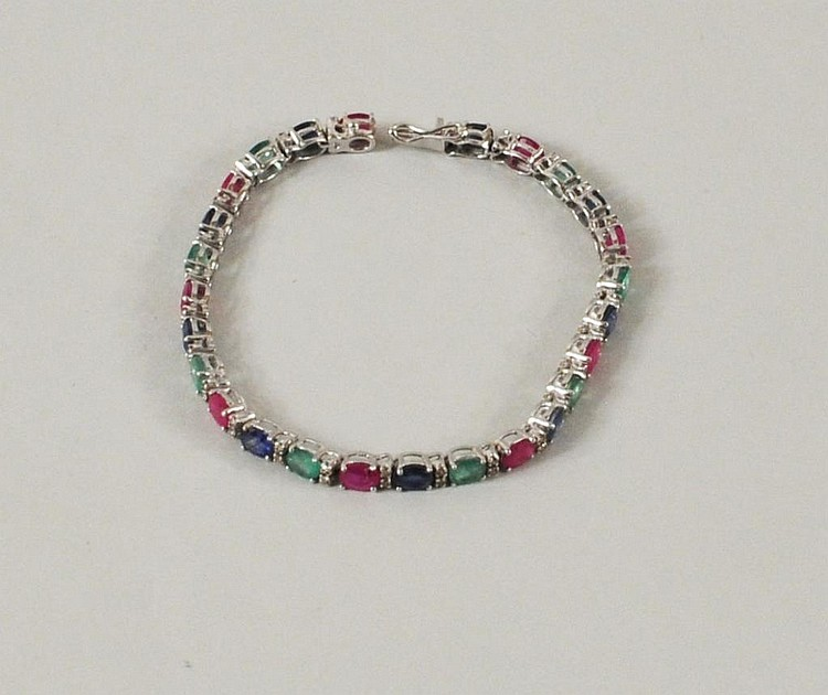 White Gold, Sapphire, Ruby & Emerald Bracelet
