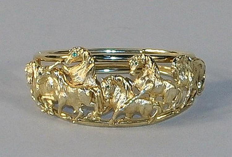 14K Gold Equestrian Theme Bracelet