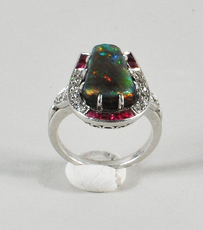 Art Deco Platinum, Black Opal, Diamond & Ruby Ring