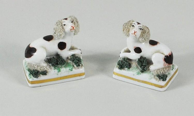 Pair Staffordshire Porcelain Miniature Poodles