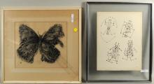 Block Print of Butterfly & Unsigned Lithograph