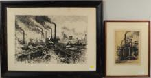 Two Continental Etchings Of Industrial Subjects