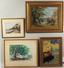 Four Waterscape Artworks, O/C & W/C