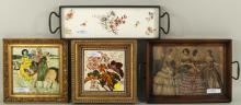 Two Framed Tiles,Tile Tray & Fashion Print Tray