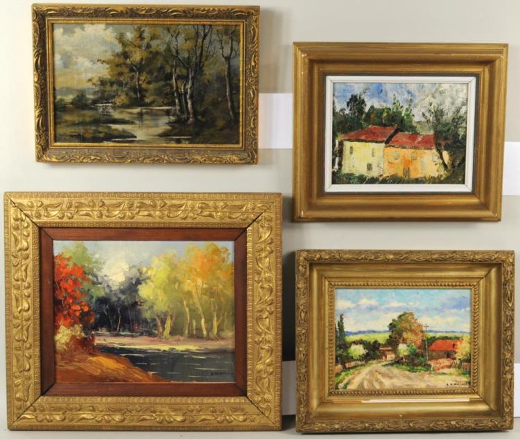 Four small oil on canvas board paintings for Small canvas boards