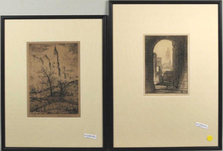 Two Signed Etchings Of New York City